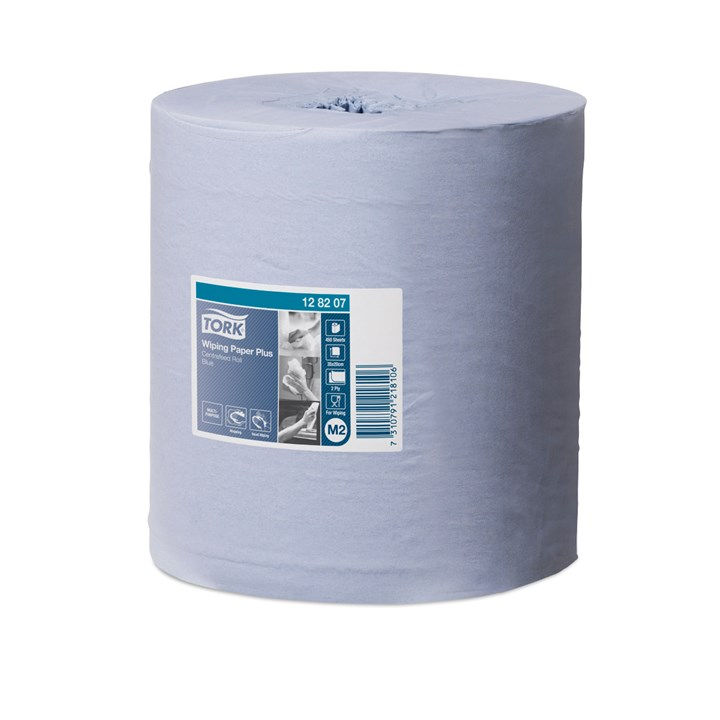 Tork Wiping Paper Plus Centrefeed Roll M2 Blue 2Ply 20Cm X 157M