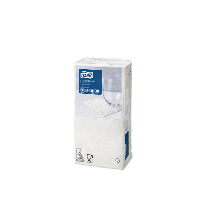 Tork White Cocktail Napkin 4 Fold 24 X 24Cm