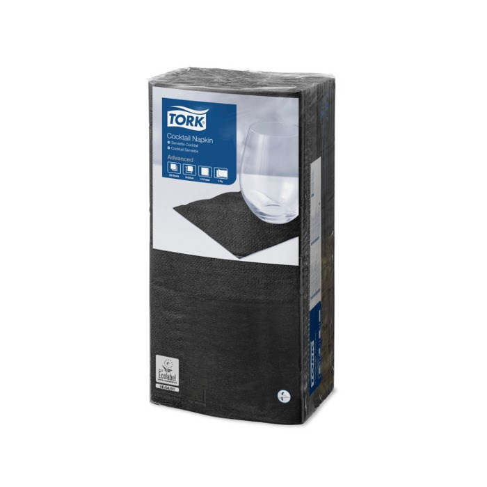 Tork Black Cocktail Napkin 4 Fold 24 X 24Cm