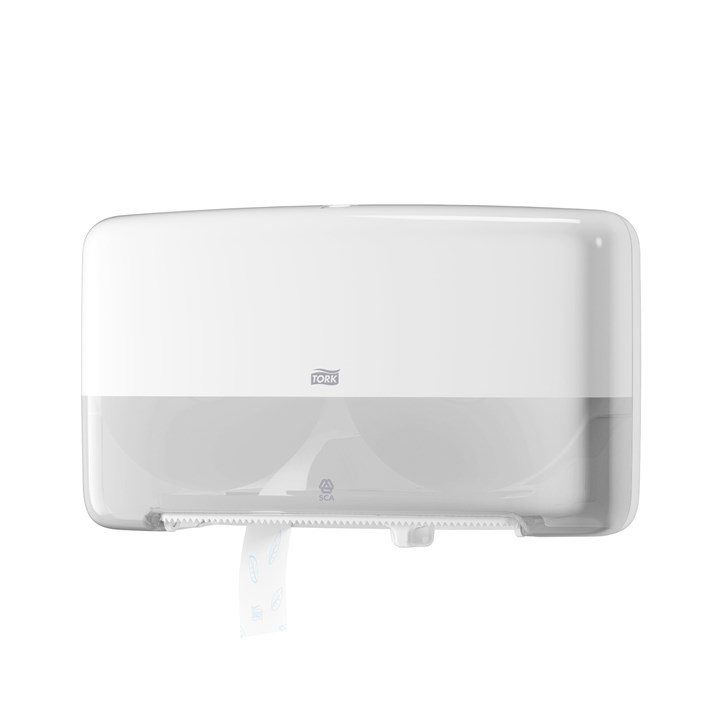 Tork Twin Mini Jumbo Toilet Roll Dispenser T2 Elevation White Plastic