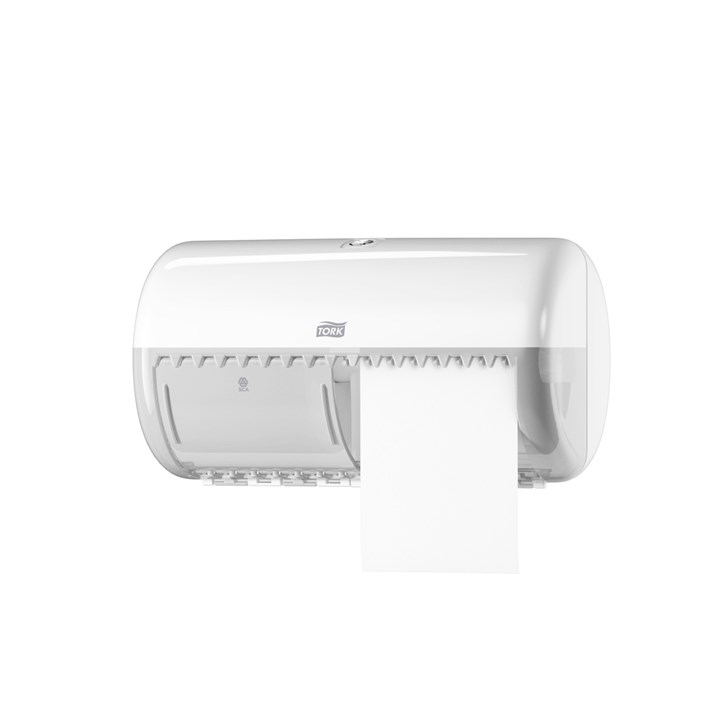 Tork Conventional Toilet Roll Dispenser T4 Elevation White Plastic