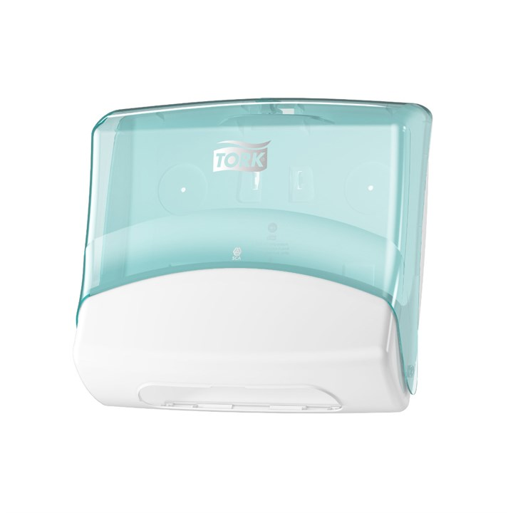 Tork Folded Wiper / Cloth Dispenser W4 White/Turquoise Plastic