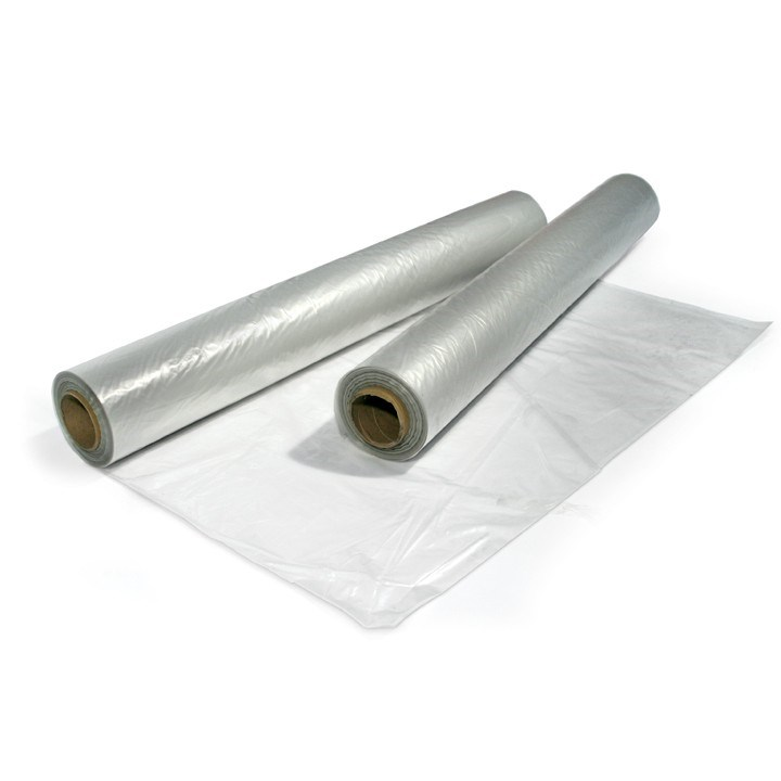 1 To 2M Wide Mediumweight Clear Centre Folded Polythene Sheet 400G 16Kg 75M Per Roll Low Slip Shrink