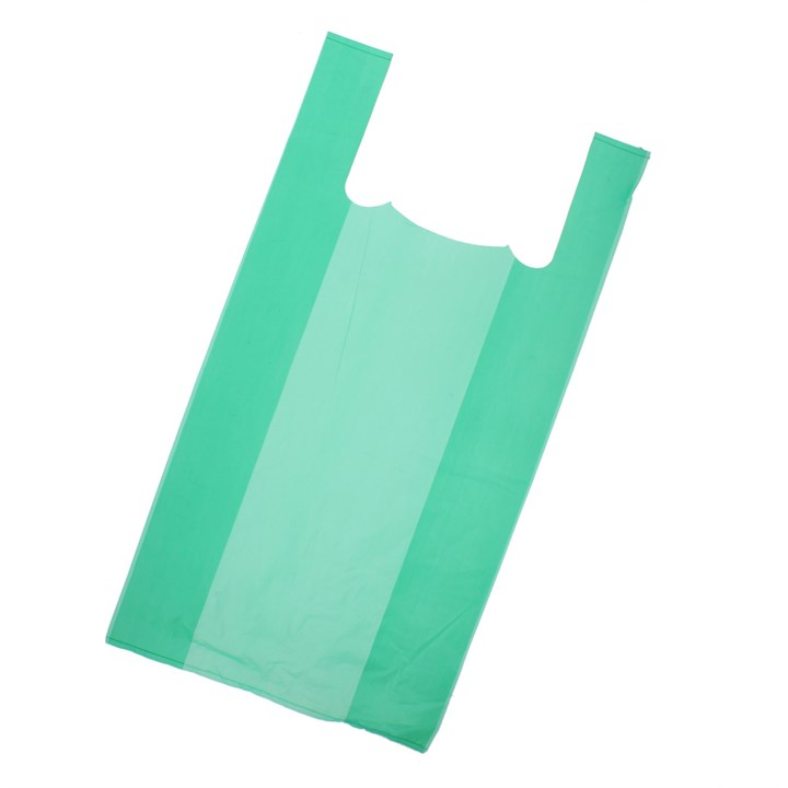 Green Plastic Carrier Bag 300+150 X 580Mm 16Mic