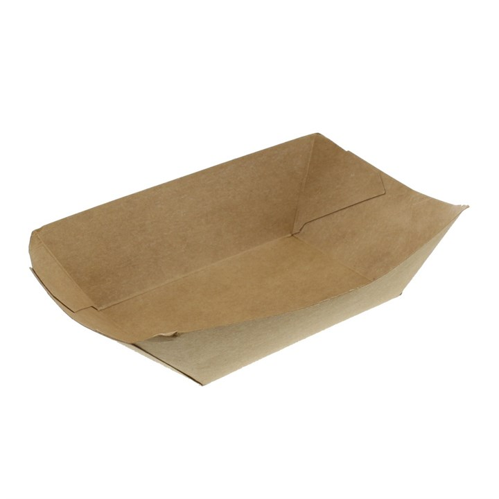 Leaf 1Lb Plain Kraft Boat Tray