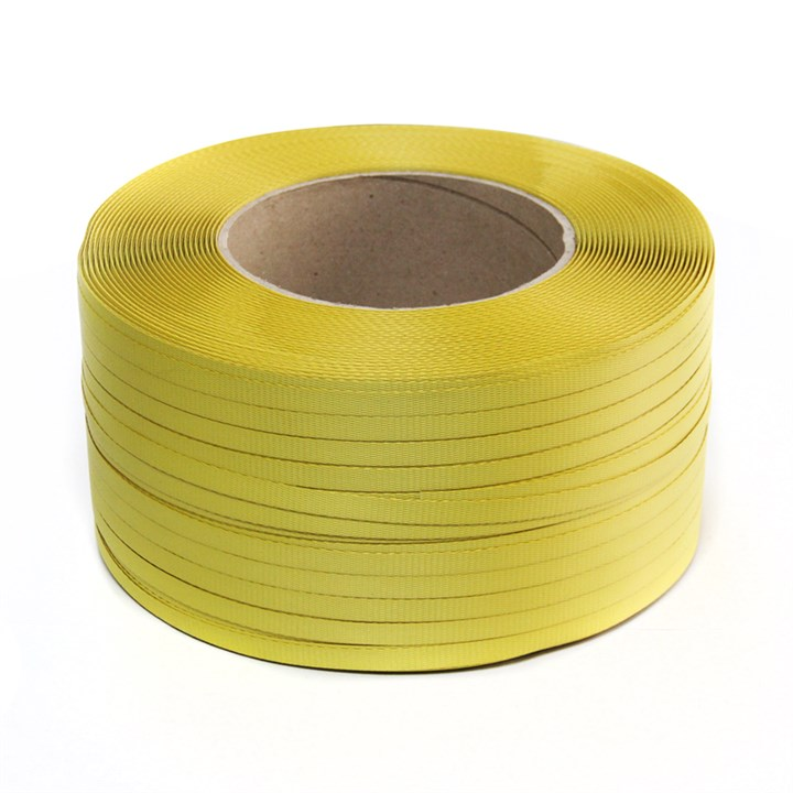 Yellow Polypropylene Hand Strapping 300Kg Breaking Strain 12.4Mm X 1400M