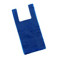 Blue Plastic Carrier Bag 300+150 X 580mm 16Mic