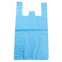 Blue Plastic Carrier Bag 215 Mm + 130Mm X 440Mm 14Mic