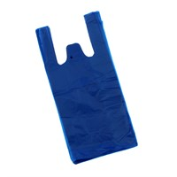 Blue Plastic Carrier Bag 215 Mm + 130Mm X 440Mm 18Mic