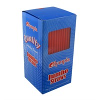 Olympia Jumbo Straight Red Straws
