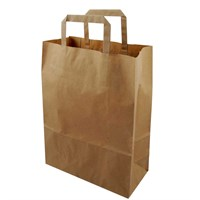 Large Handled Kraft Brown Paper Bag 10.25 X 15.5 X 12 Inch